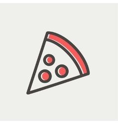 Pizza slice thin line icon vector