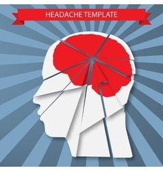 Headache silhouette of human head with red brain vector