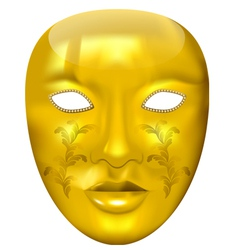 Golden carnival mask vector