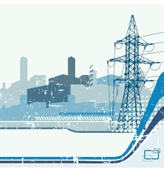 High-voltage tower silhouette on urban background vector