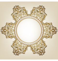 Jewelry gold frame with pearls on beige background vector