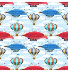 Seamless pattern with dirigibles and air balloons vector