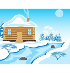 House beside in winter yard vector