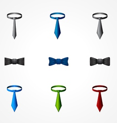 Set of a tie and bow icons vector