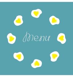 Egg round food frame menu cover flat design vector