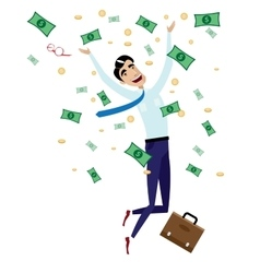 Happy businessman jumping with money vector