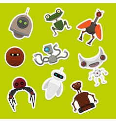 Stickers with robots vector