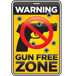 Gun free zone sign with bullet holes vector