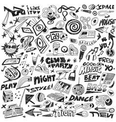Music party - doodles set vector