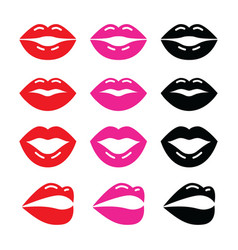 Lips kiss red pink and black glossy icon vector