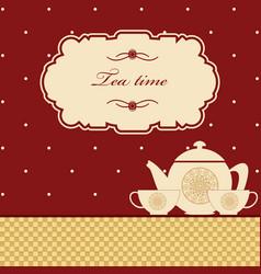 Cute polka dot brown tea time background print vector
