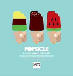 Variety popsicle in hand eps10 vector