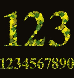 Floral numbers made with leaves natural numerals vector
