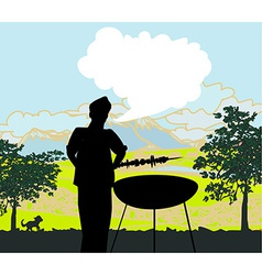 Man cooking on his barbecue invitation vector