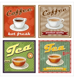 Vintage coffee and tea poster vector