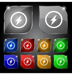 Photo flash sign icon lightning symbol set of vector