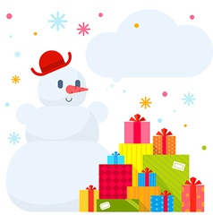 Snowman and piles of presents on whit vector