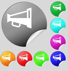 Megaphone soon loudspeaker icon sign set of eight vector