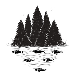 River bank with forest and fish vector