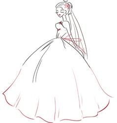 Symbolic bride in wedding dress vector