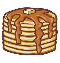 Pancakes with butter and syrup vector
