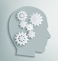 Human head with gears inside vector