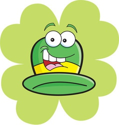 Cartoon derby hat with a shamrock background vector