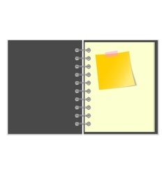 Open grey cover notebook with yellow sticker vector
