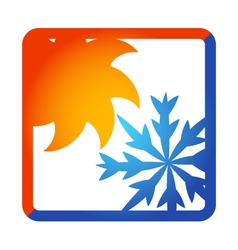 Sun and snowflake for air conditioner vector