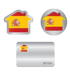 Home icon on the spain flag vector