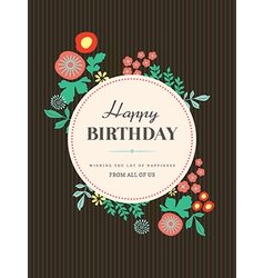 Birthday card design flower vector