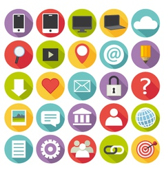 Flat design multimedia icons set vector