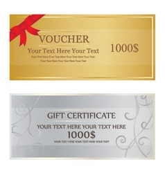 Gold with red ribbon and silver with swirl voucher vector