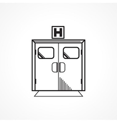 Black line icon for hospital entrance door vector