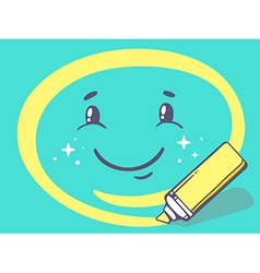 Marker drawing circle around smile on gre vector