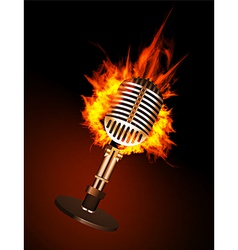 Microphone in fire vector