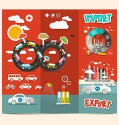 Transport - export import red retro brochure vector