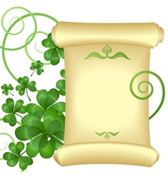 St patricks day invitation with parchment scroll vector