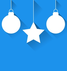 Christmas balls and star with effect of long vector