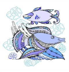 Two fishes and cockleshells vector