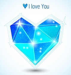 Blue triangle heart vector