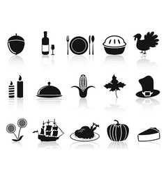 Black thanksgiving icons set vector