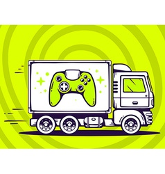 Truck free and fast delivering joystick t vector
