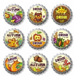 Thanksgiving bottle caps vector