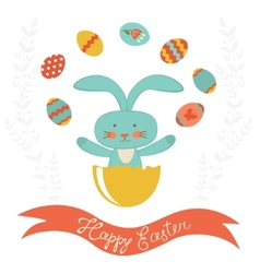 Easter rabbit hatching and juggling with easter vector