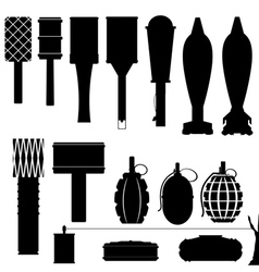 Set of silhouettes of grenades and mines vector