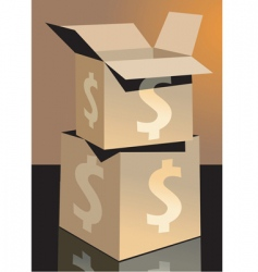 Dollar and cartons vector