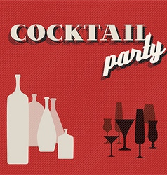 Retro coctail party invitation card vector