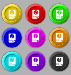 Audio mp3 file icon sign symbol on nine round vector