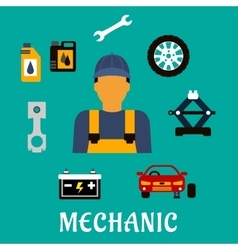 Mechanic profession flat concept with tools vector